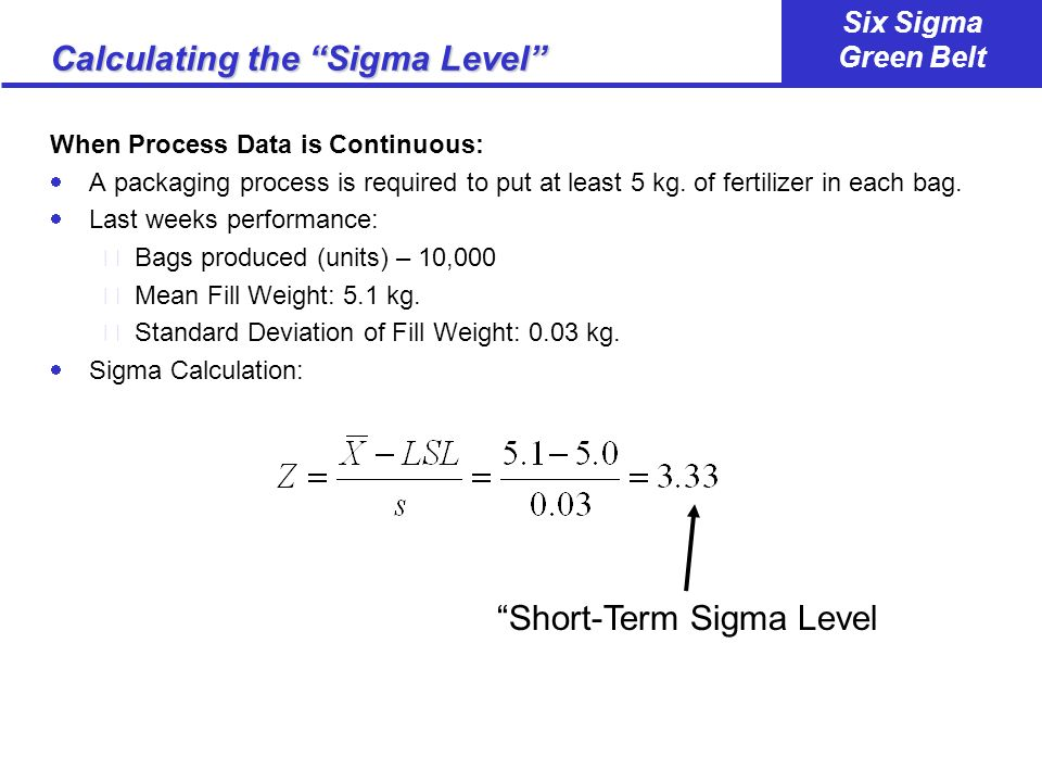 Calculating the Sigma Level