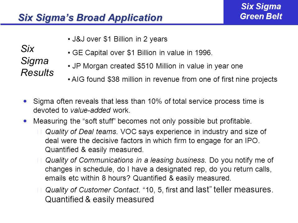 Six Sigma's Broad Application