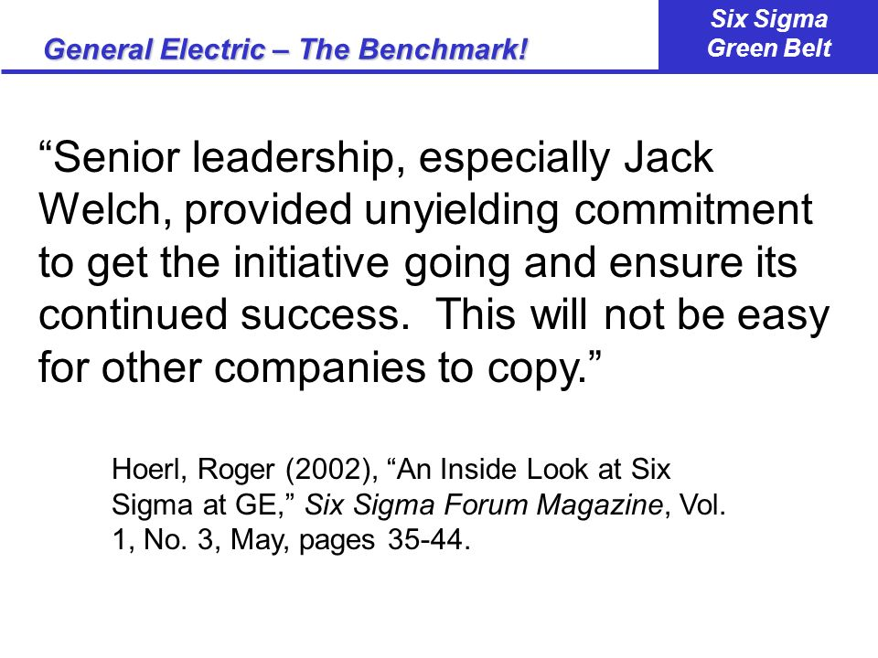 General Electric – The Benchmark!