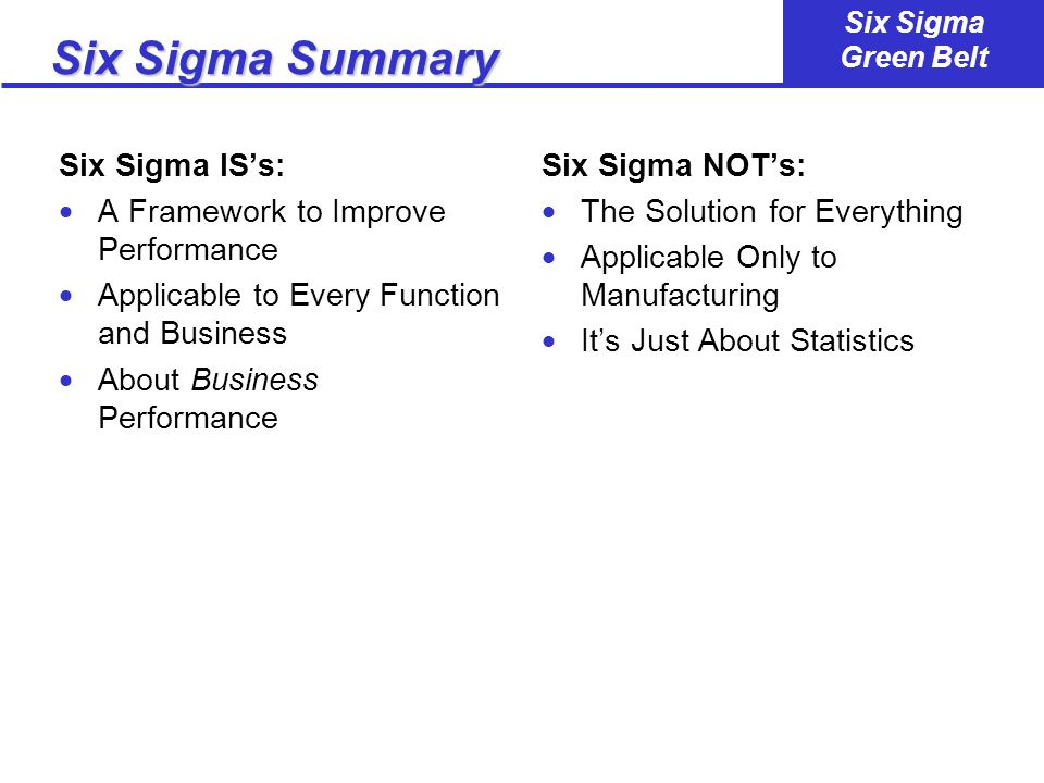 Six Sigma Summary Six Sigma IS's: A Framework to Improve Performance