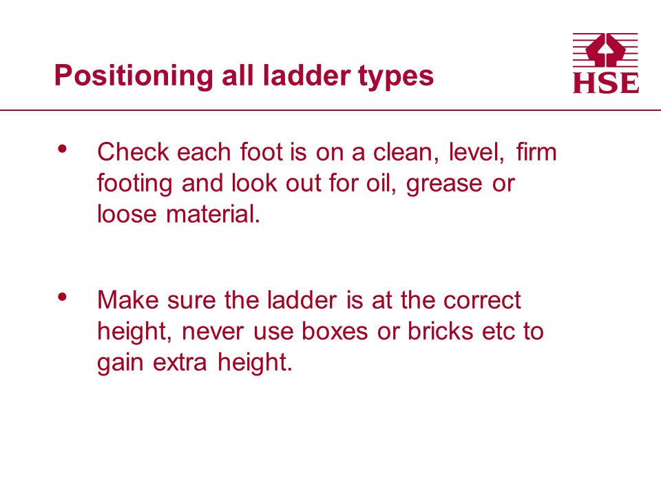 Positioning all ladder types