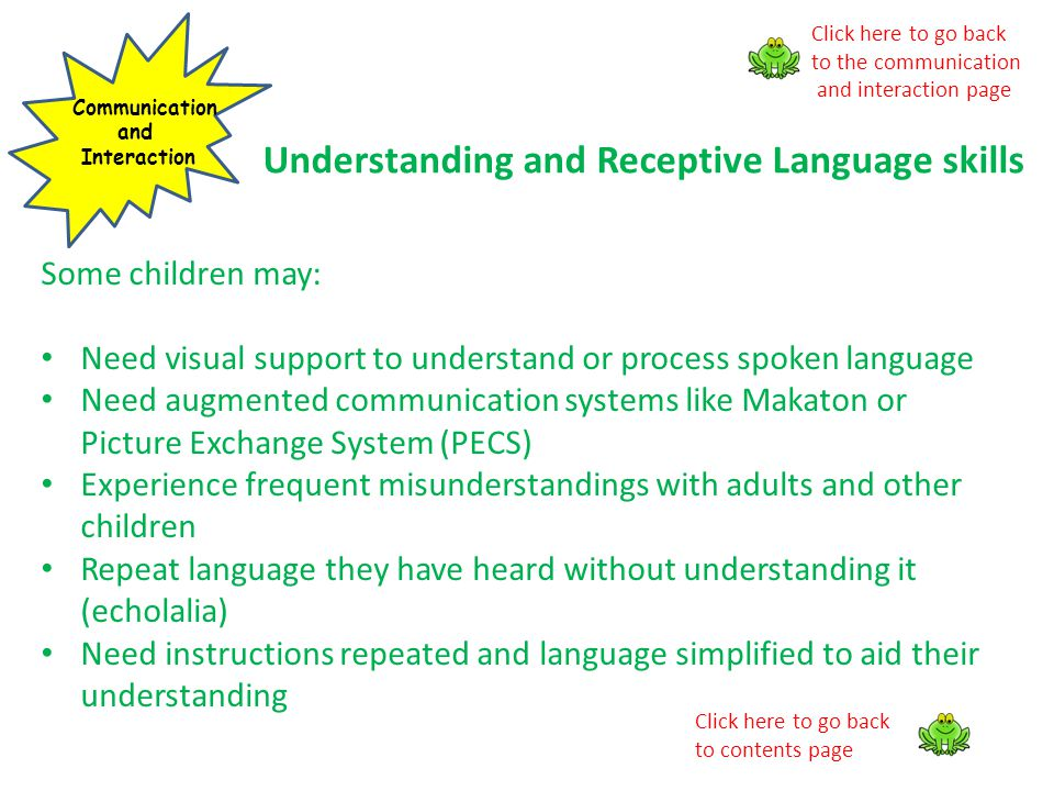 Understanding and Receptive Language skills