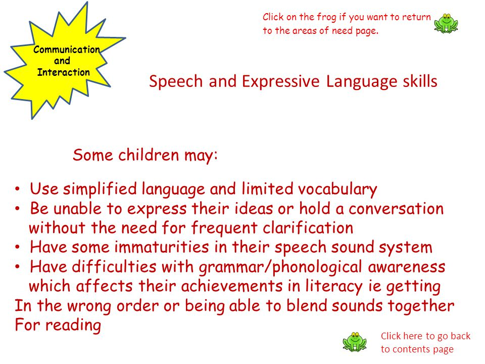 Speech and Expressive Language skills