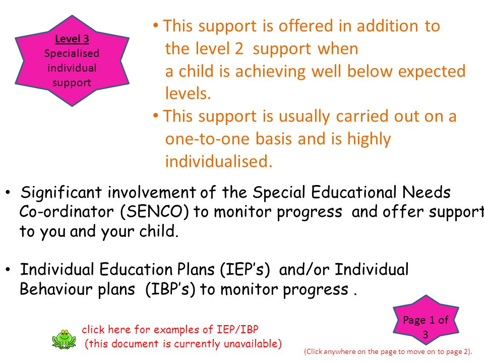 Specialised individual support
