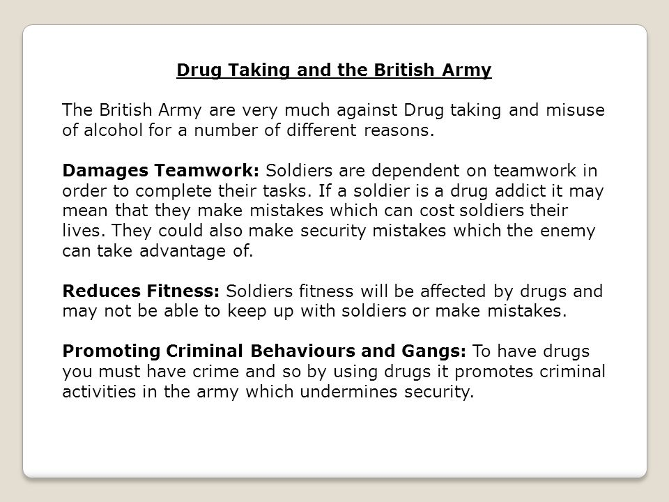 Drug Taking and the British Army