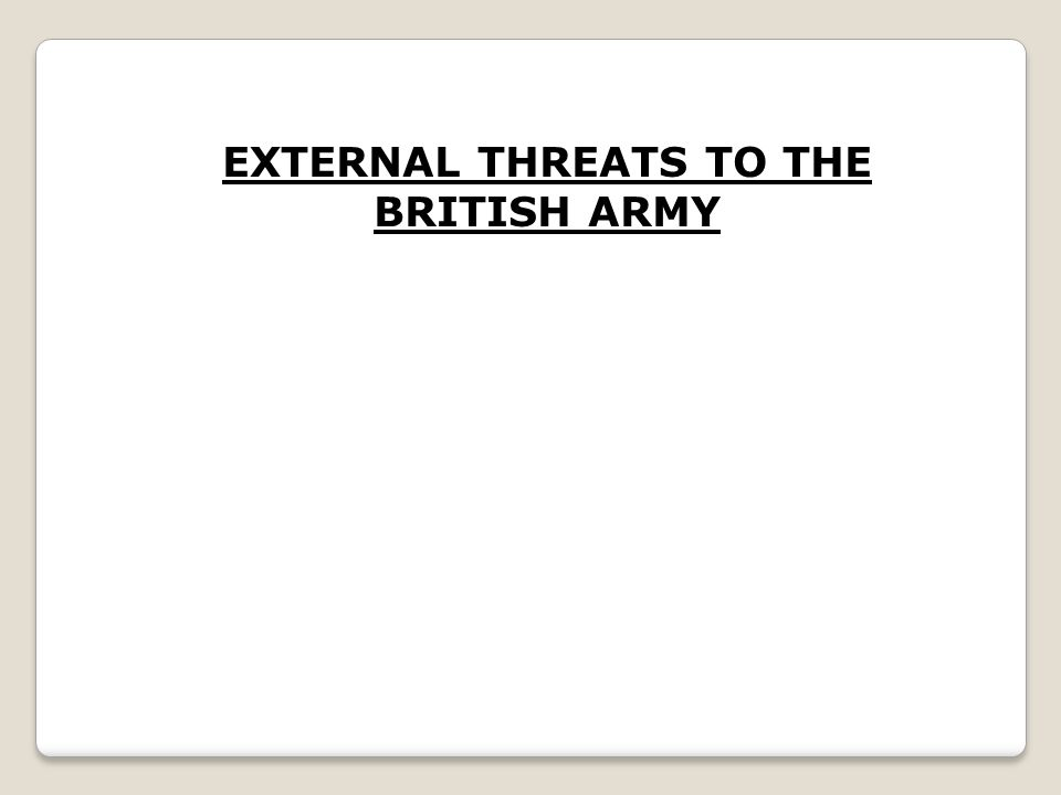 EXTERNAL THREATS TO THE BRITISH ARMY