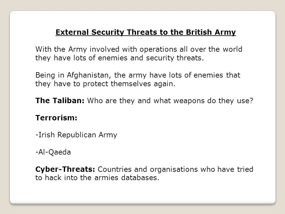 External Security Threats to the British Army