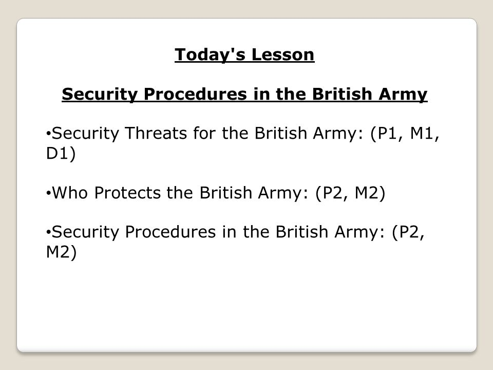 Security Procedures in the British Army