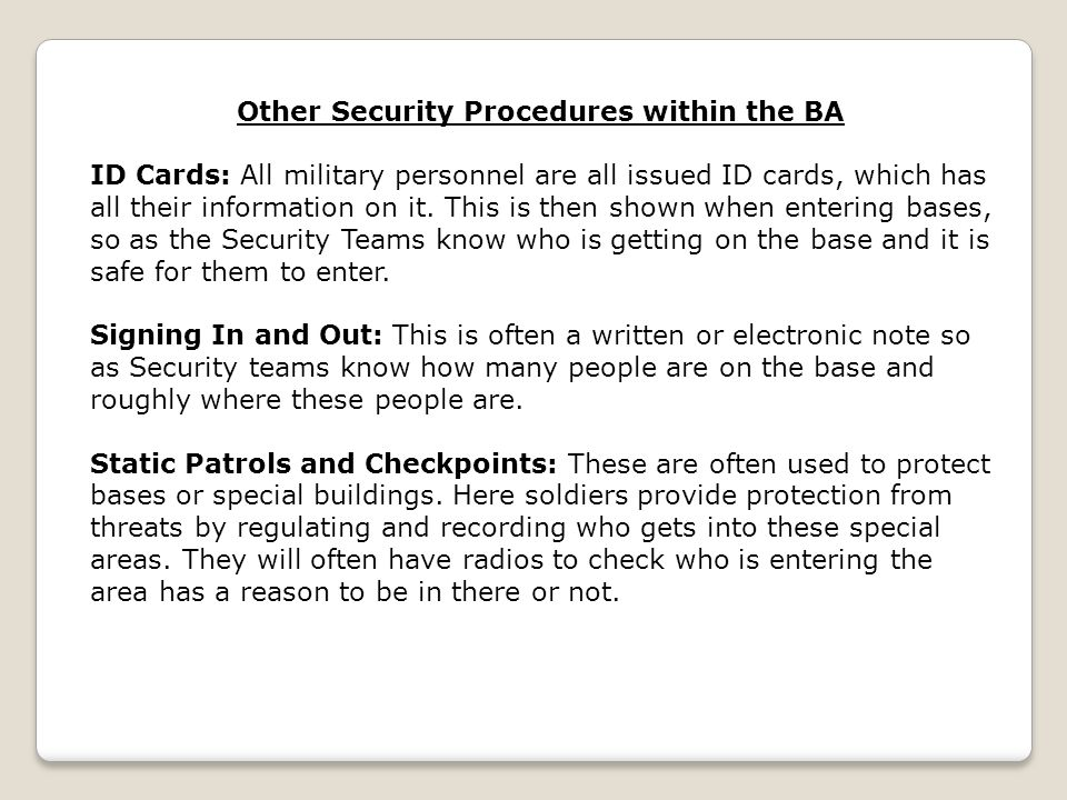 Other Security Procedures within the BA