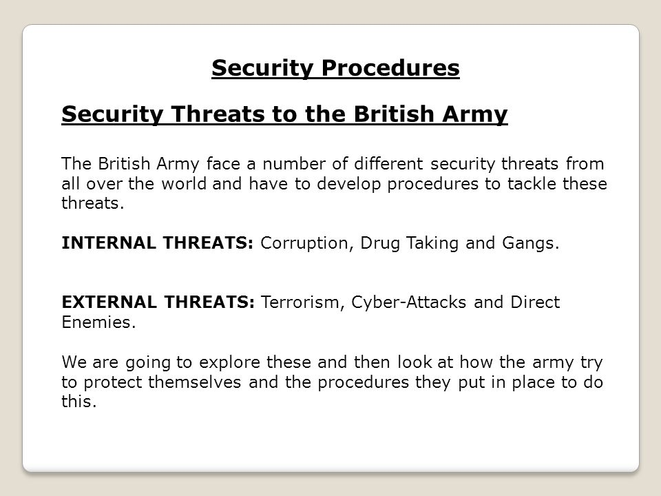 Security Threats to the British Army