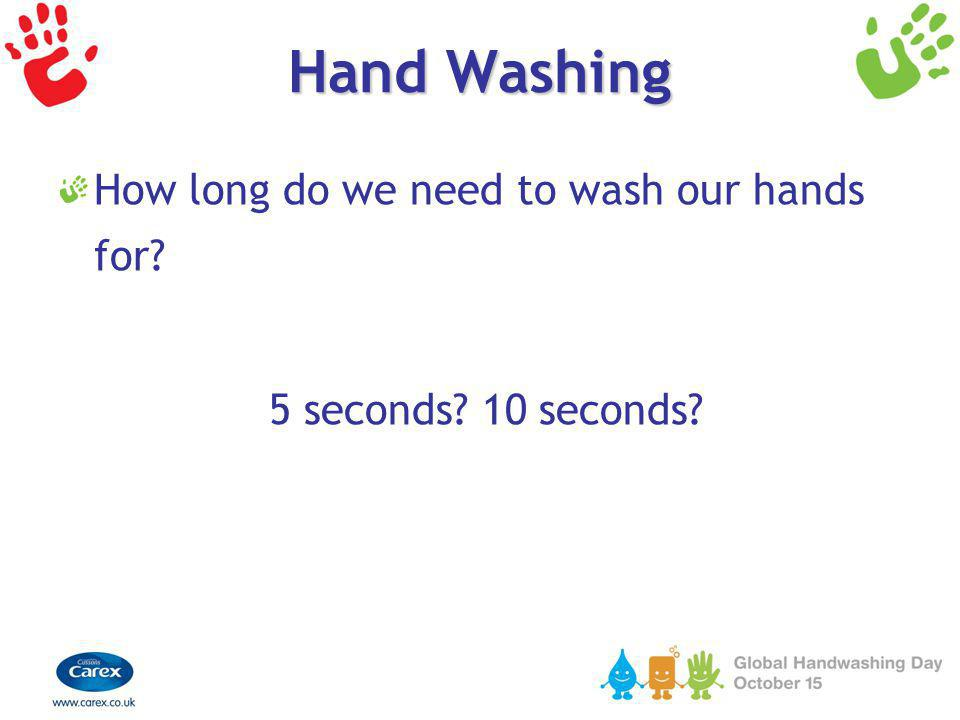 Hand Washing How long do we need to wash our hands for