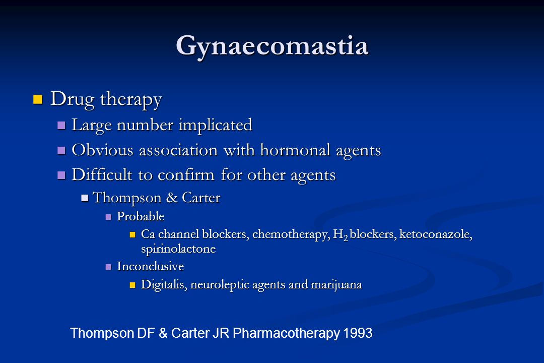Gynaecomastia Drug therapy Large number implicated