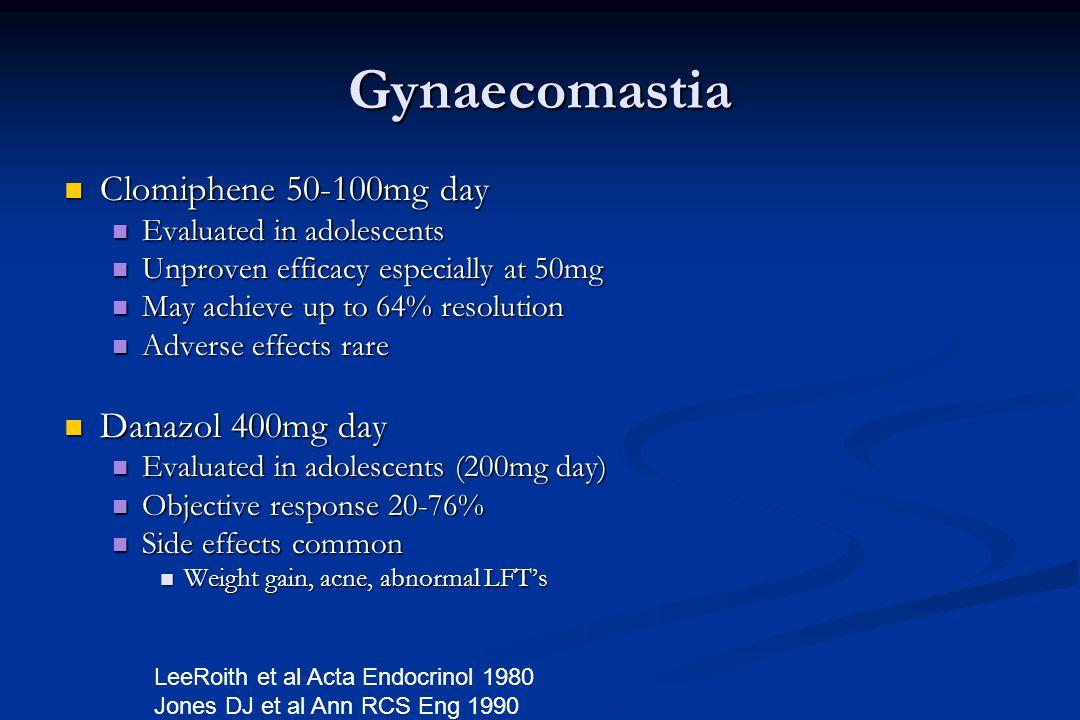 Gynaecomastia Clomiphene 50-100mg day Danazol 400mg day