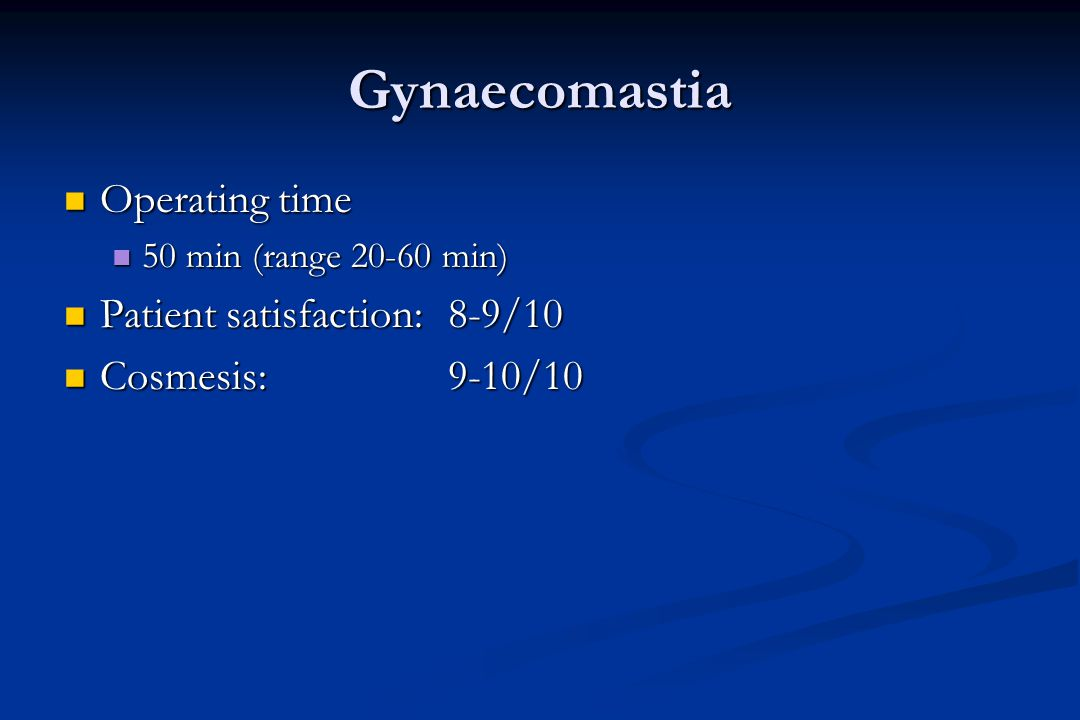 Gynaecomastia Operating time Patient satisfaction: 8-9/10
