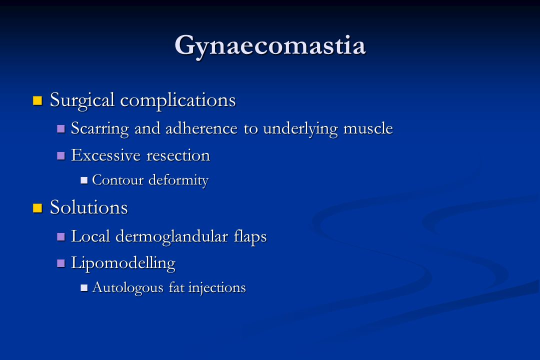 Gynaecomastia Surgical complications Solutions