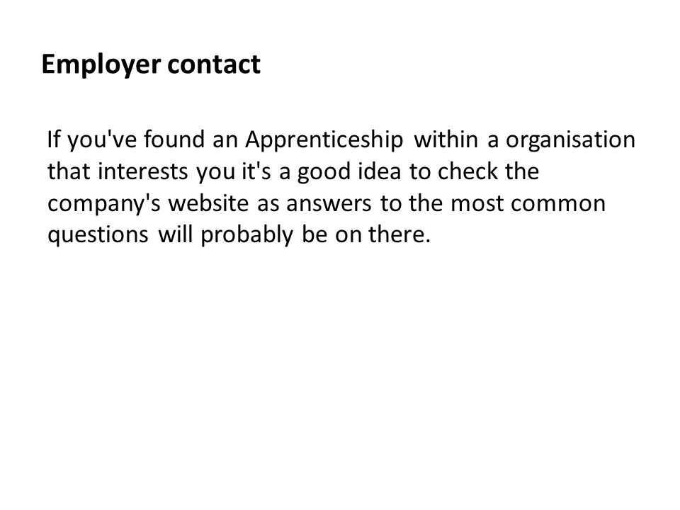 Employer contact