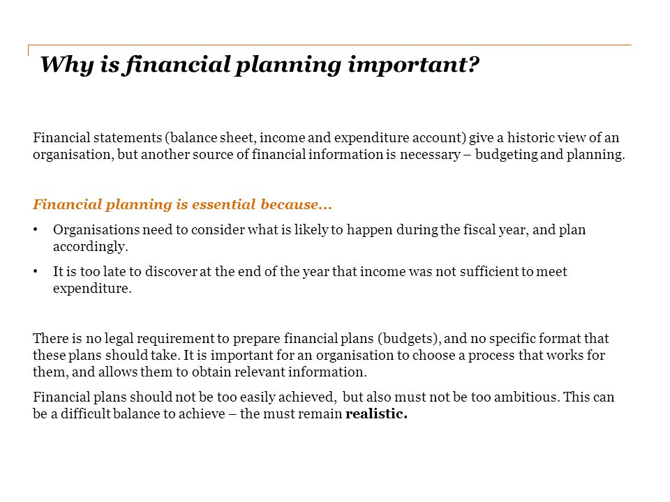 Why is financial planning important