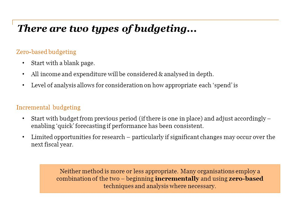 There are two types of budgeting...