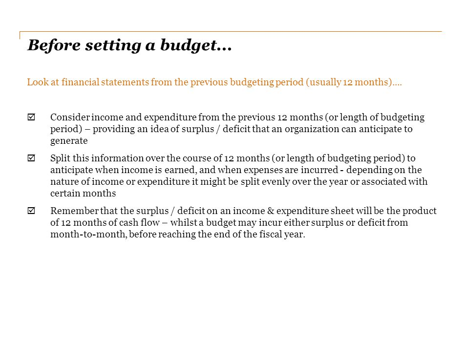 Before setting a budget...