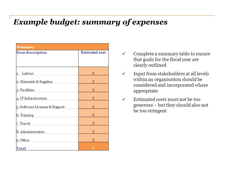Example budget: summary of expenses