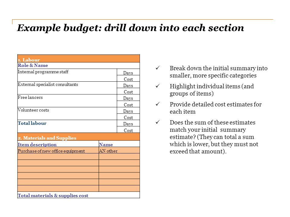 Example budget: drill down into each section