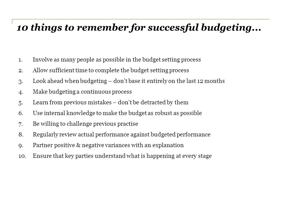 10 things to remember for successful budgeting...