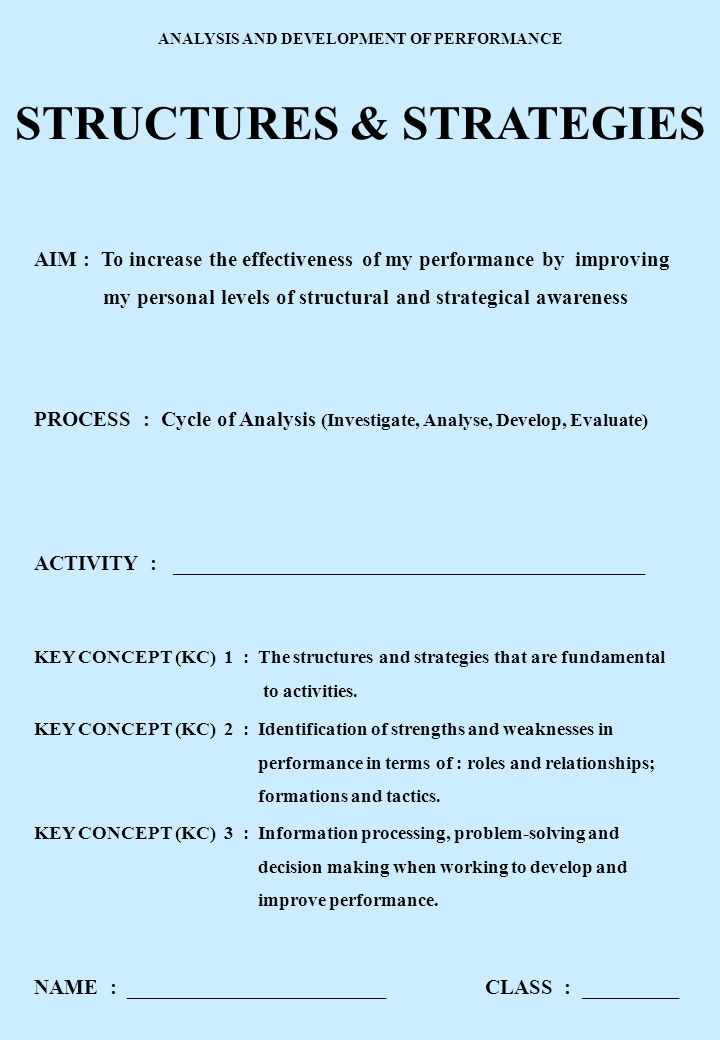 ANALYSIS AND DEVELOPMENT OF PERFORMANCE STRUCTURES & STRATEGIES