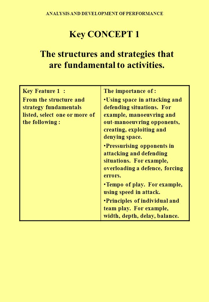 The structures and strategies that are fundamental to activities.