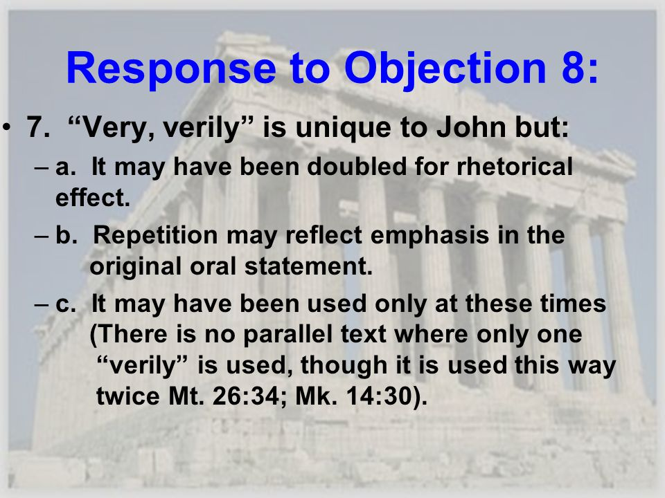 Response to Objection 8: