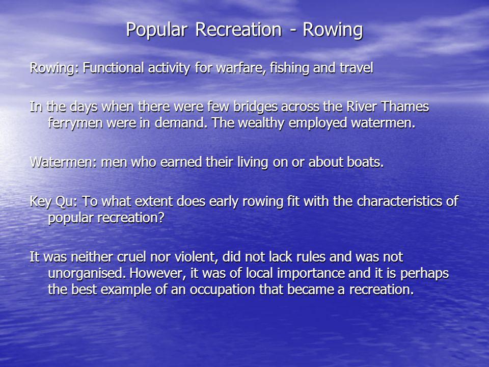 Popular Recreation - Rowing