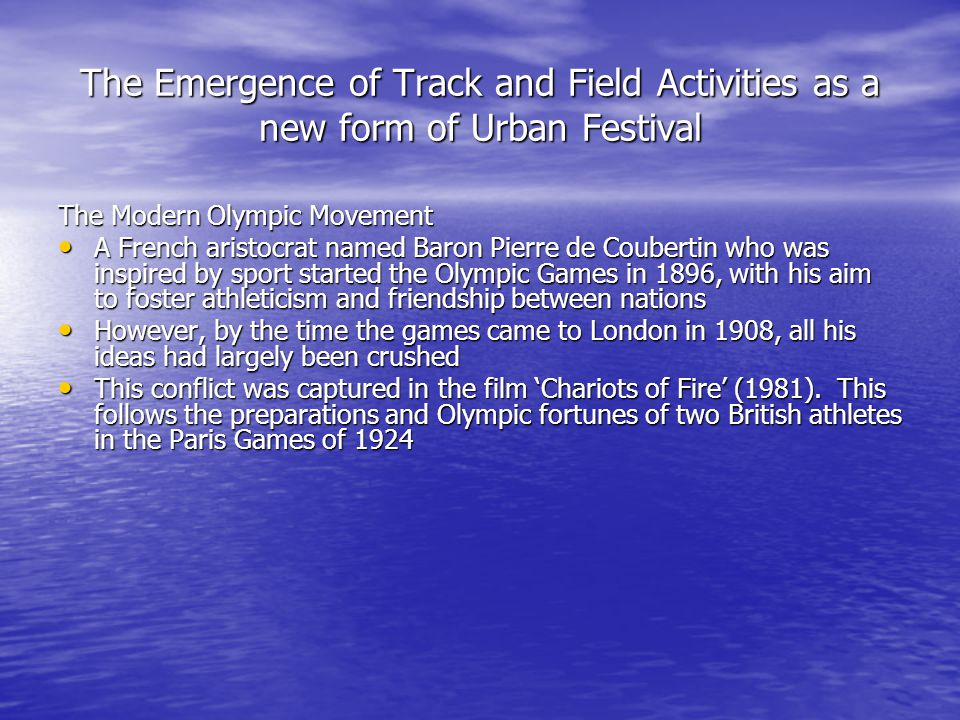 The Emergence of Track and Field Activities as a new form of Urban Festival