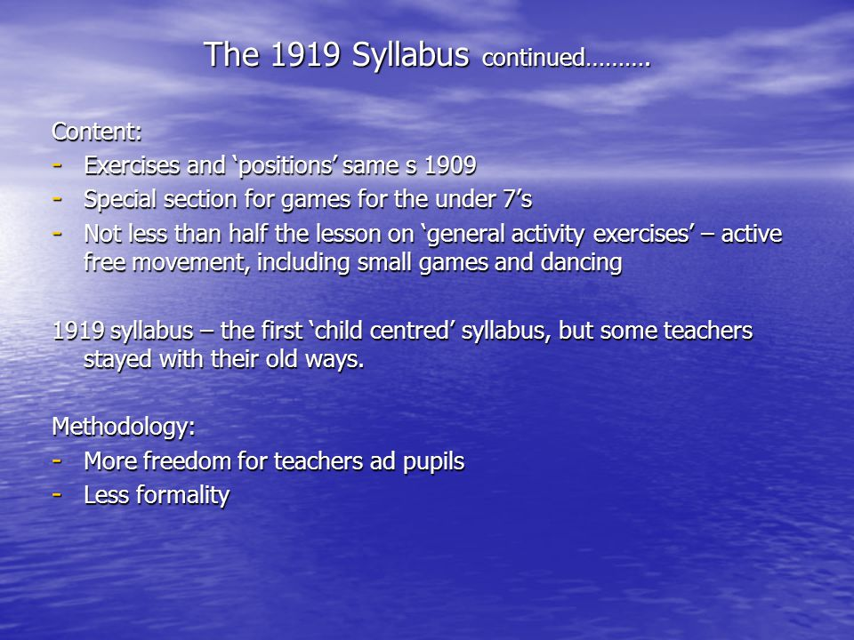 The 1919 Syllabus continued……….