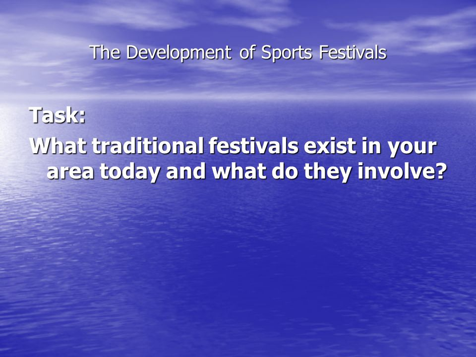 The Development of Sports Festivals