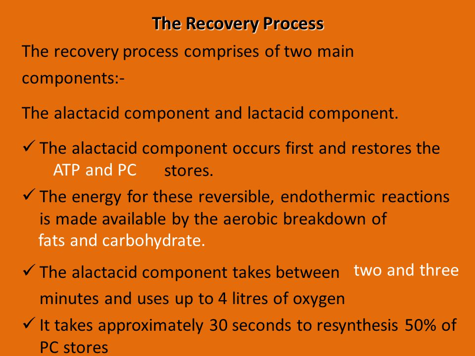 The Recovery Process The recovery process comprises of two main