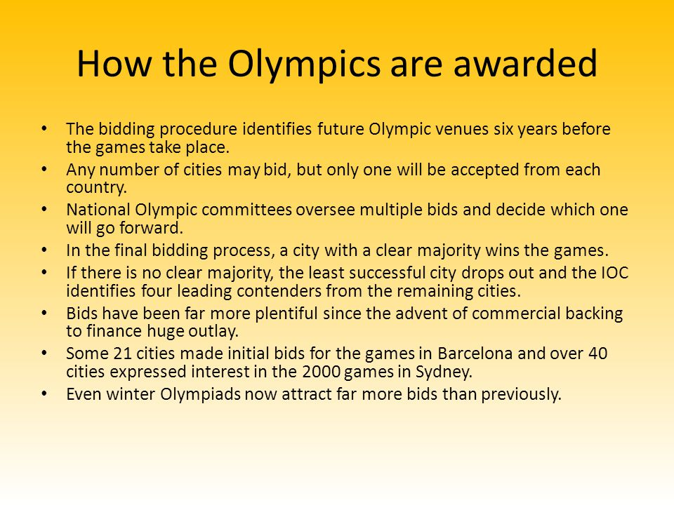 How the Olympics are awarded