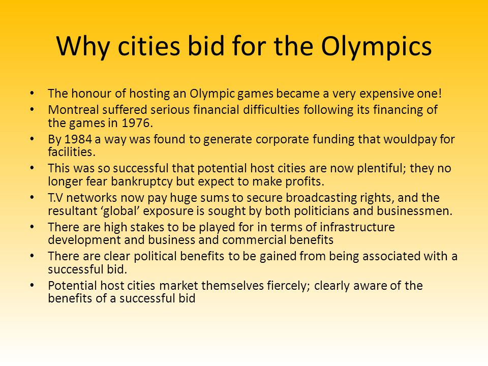 Why cities bid for the Olympics