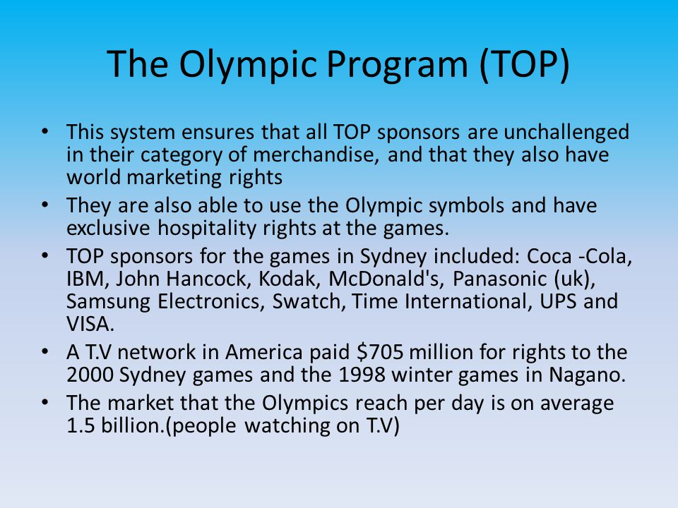 The Olympic Program (TOP)
