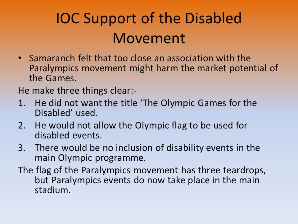 IOC Support of the Disabled Movement