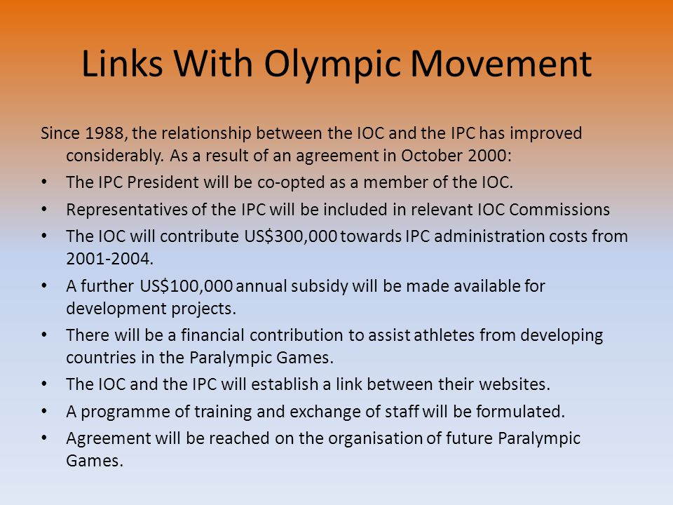 Links With Olympic Movement