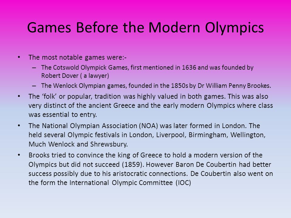 Games Before the Modern Olympics