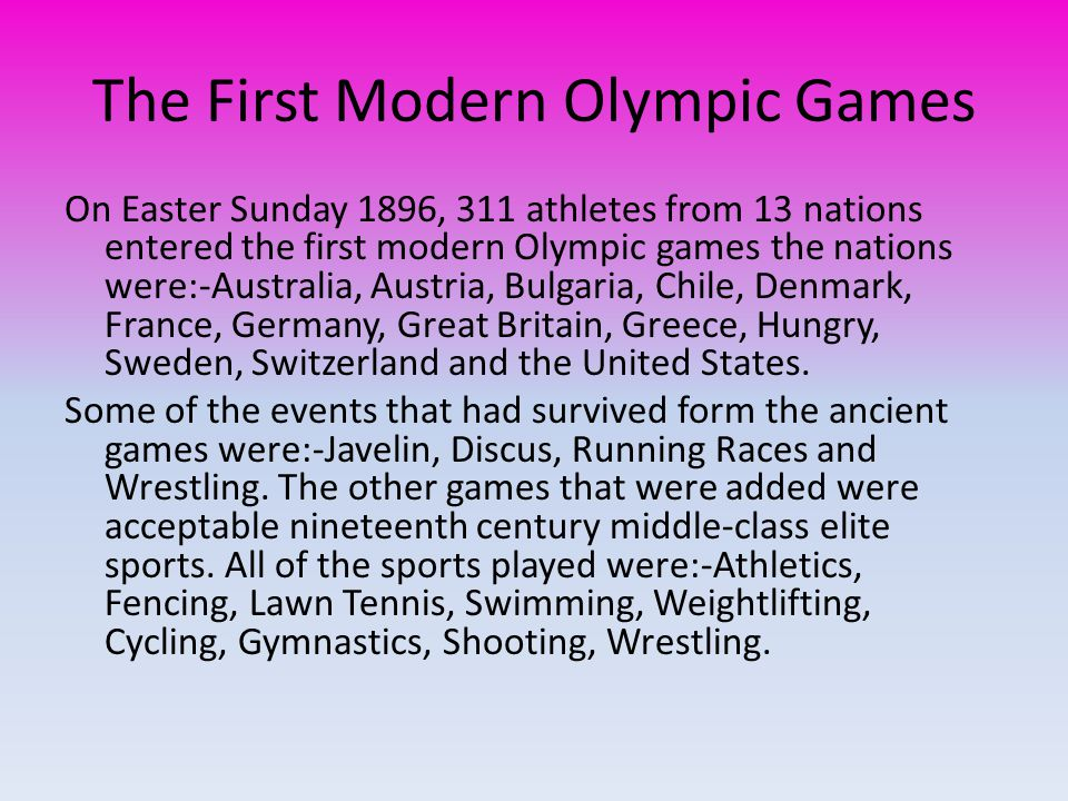 The First Modern Olympic Games