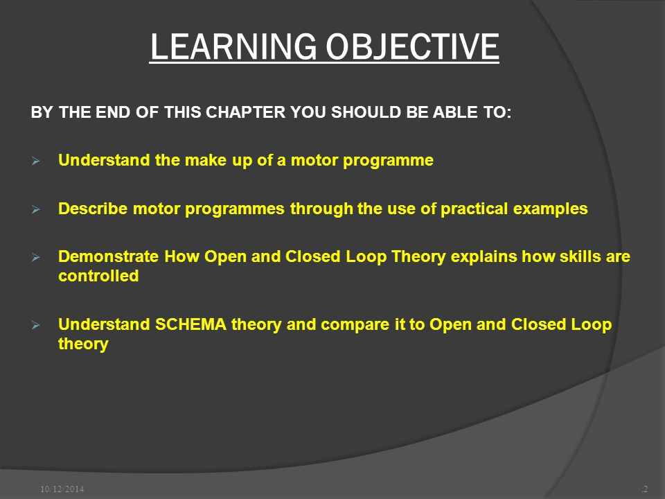 LEARNING OBJECTIVE BY THE END OF THIS CHAPTER YOU SHOULD BE ABLE TO: