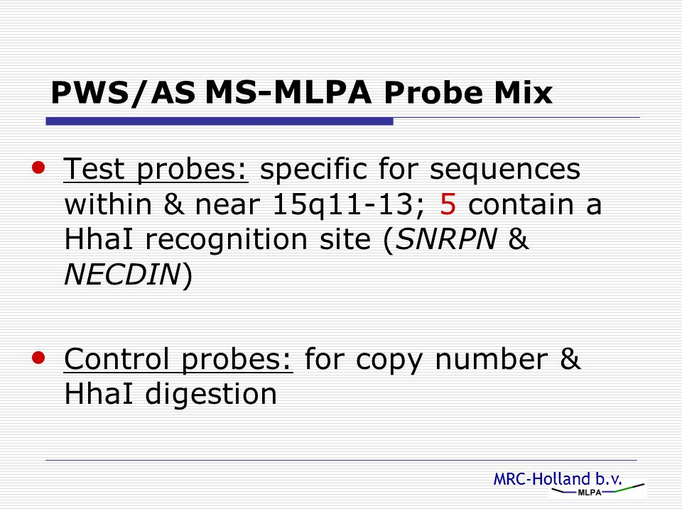 PWS/AS MS-MLPA Probe Mix