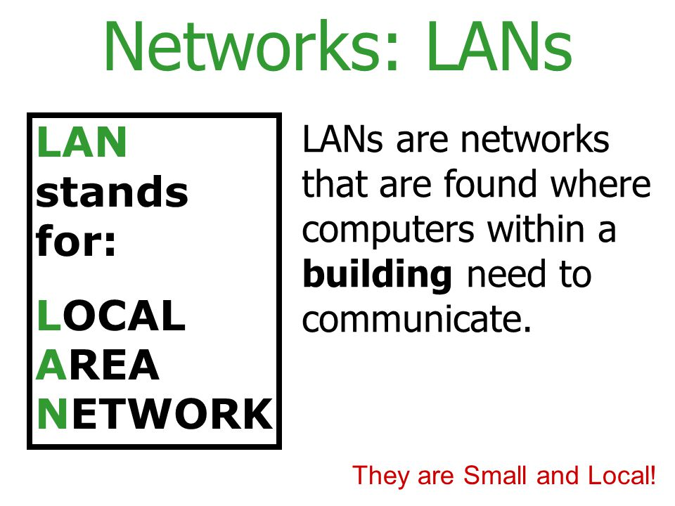 Networks: LANs LAN stands for: LOCAL AREA NETWORK