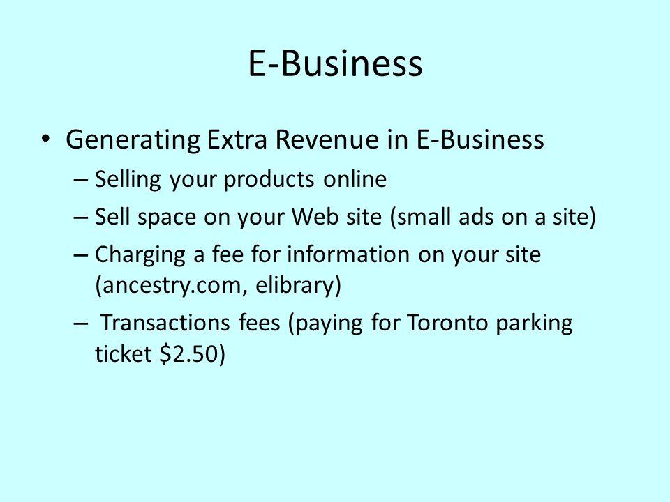 E-Business Generating Extra Revenue in E-Business