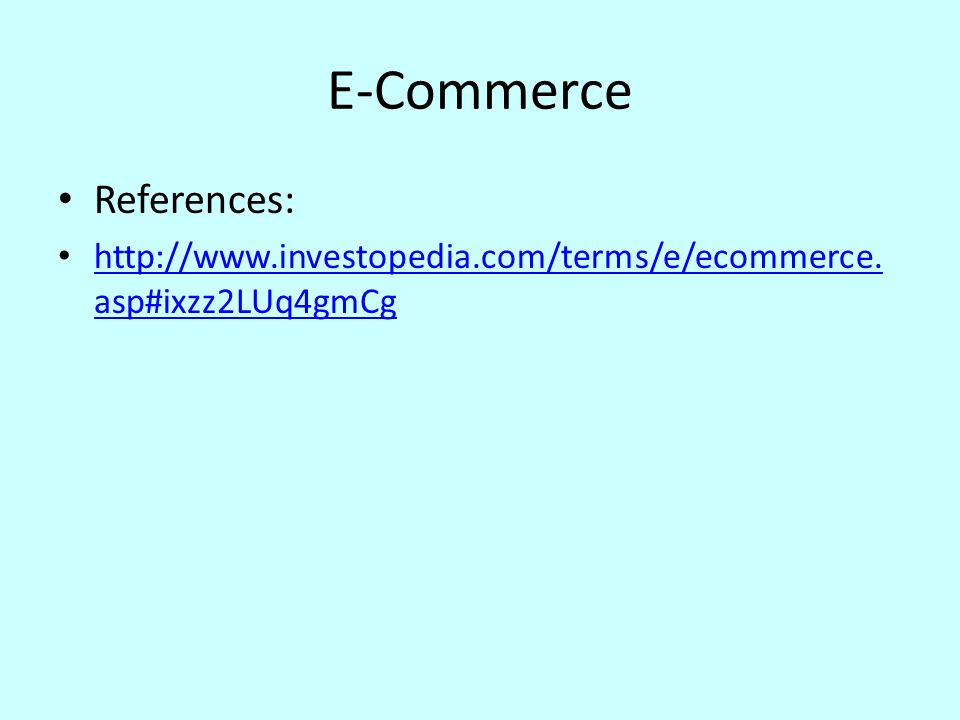 E-Commerce References: