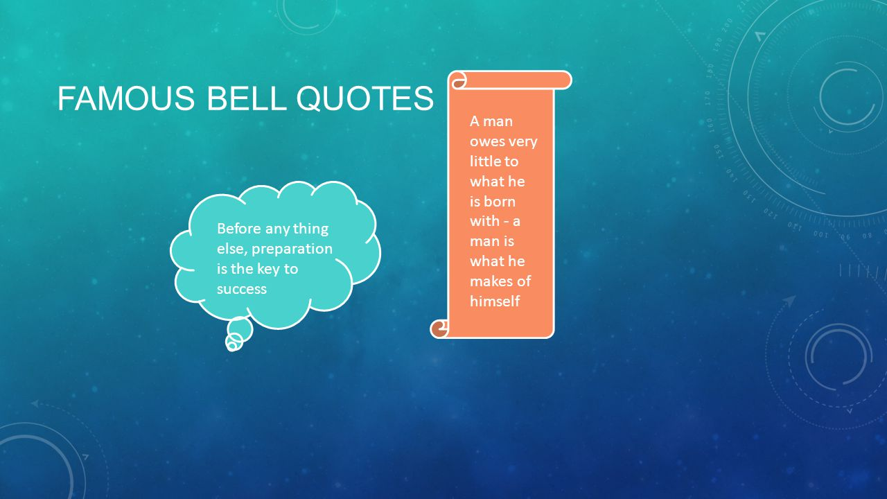 Famous bell quotes A man owes very little to what he is born with - a man is what he makes of himself.