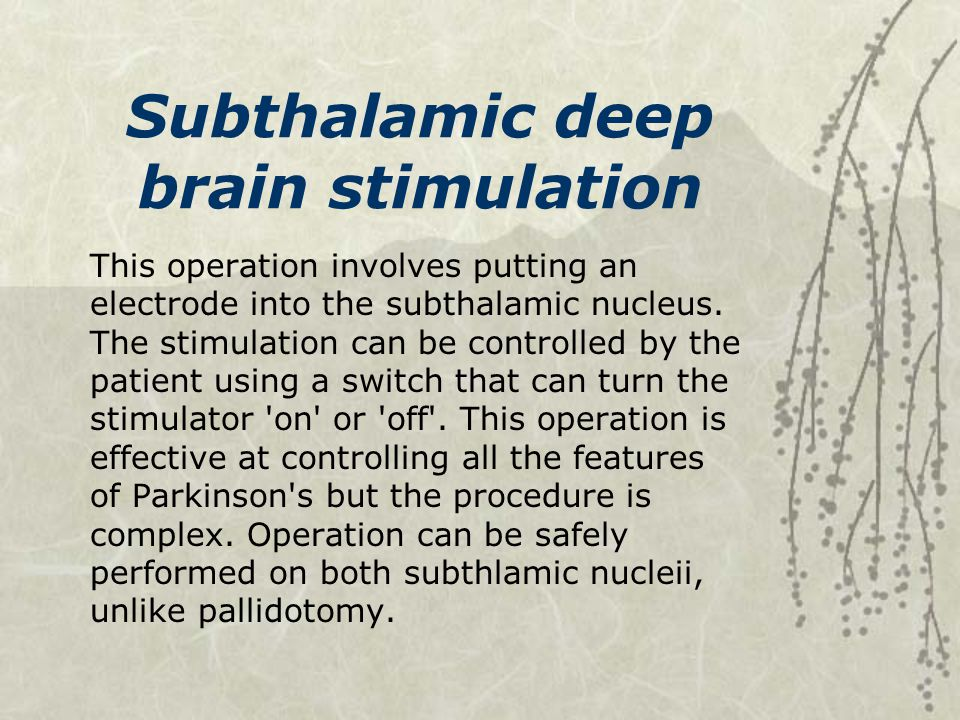 Subthalamic deep brain stimulation