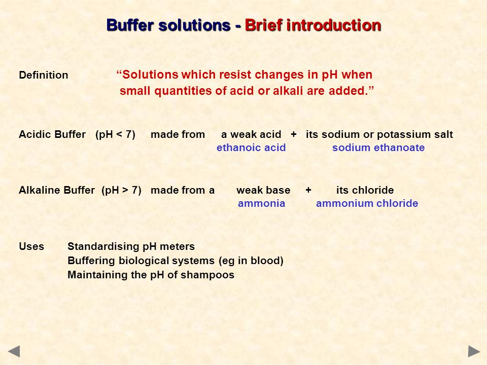 Buffer solutions - Brief introduction