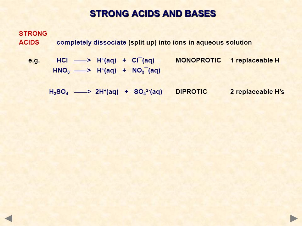 STRONG ACIDS AND BASES STRONG